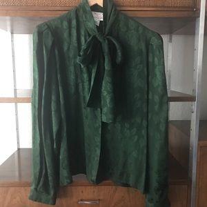 Vintage Miss O Oscar de la Renta Green Silk Blouse